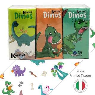 KARTIKA Dinos Printed Tissue (6 Pack x 9)