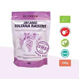 Biogreen Organic Sultana Raisins (Pouch)