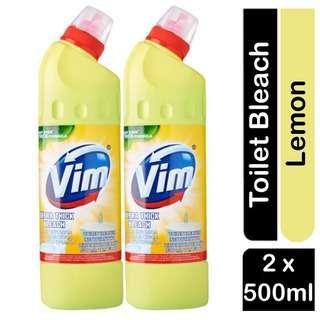 Vim Ultra Thick Bleach TOILET CLEANER - Lemon  2 x 500ml Pack