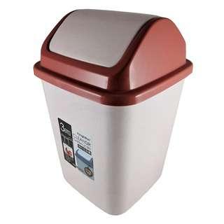 KJB Cleansir Plastic Square Swing Top Bin (Red Ochre) 7.5 L