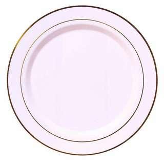 Partyforte Disposable Plastic Tableware Plate - Gold Trim