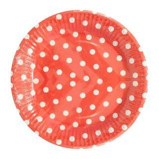 Partyforte Red Polka Dot 20Cm Paper Plates