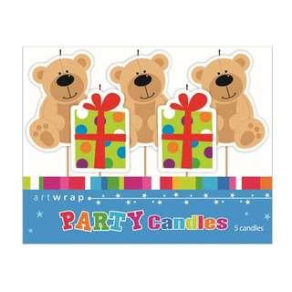 IG Design Group 5 Pick Candles - Teddy Bear