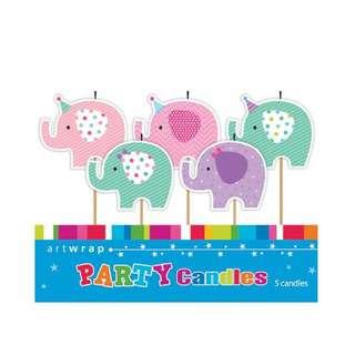 IG Design Group 5 Pick Candles - Elephants
