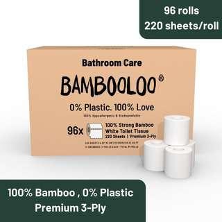 Bambooloo 100% Bamboo Toilet RollsFamily Box 1X96S