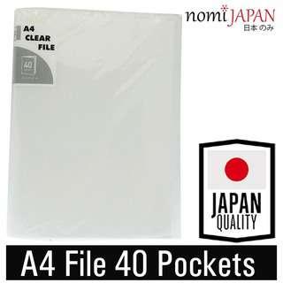 Nomi Japan Clear File 40 Pockets A4 Sheet Protector