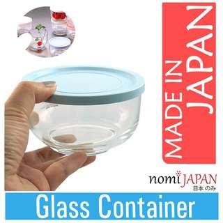 Nomi Japan Bowl Shaped 335ml Glass Container Pastel Blue Lid