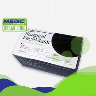 Wistech Surgical Face Mask(Black) 50s e BFE 95%
