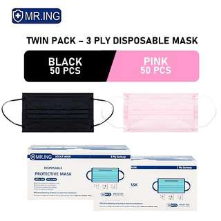 MR ING Twin Pack Black, Pink - 3 Ply Disposable Mask