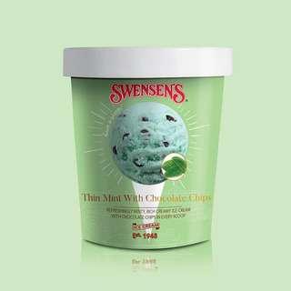 Swensen's Thin Mint Ice Cream Pint Tub