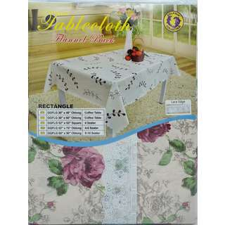 """Dolphin Collection PVC Tablecloth With Lace 52""""X70"""" Oblong"""