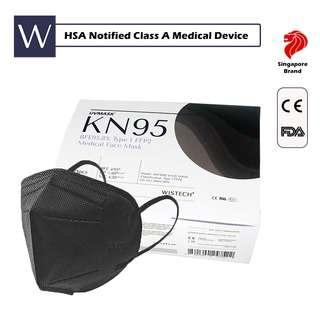 Wistech Black KN95 Protective Face Mask