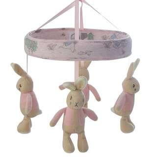 Bubba Blue Hop Little Rabbit Musical Mobile - Pink