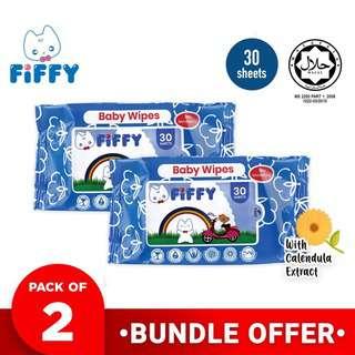 Fiffy Baby Wipes (Calendula) Travel Size 2-Pack
