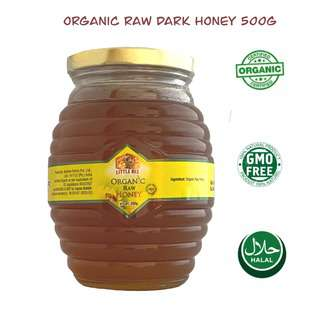 Little Bee Organic Raw Honey in Classic Hive Glass Bottle500