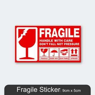 MillionParcel Fragile Sticker 9 x 5cm