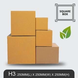 MillionParcel Square Box H3: L250 x W250 x H250mm