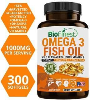 Biofinest Omega 3 Fish oil 1000mg EPA DHA Vitamin E Supplemen