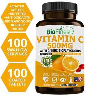 Biofinest Buffered Vitamin C 500mg Rosehip Rutin Supplement