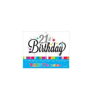 IG Design Group Large Party Candle - 21st Birthday Stars
