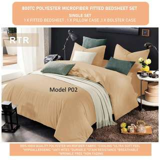 RTR 800TC Polyester Microfiber Bedsheet Set- Single P02