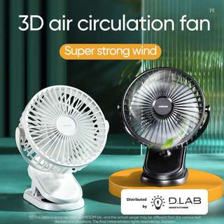 D.LAB MANUFACTURING Silent Rotatable Clip Fan w RC  (White)