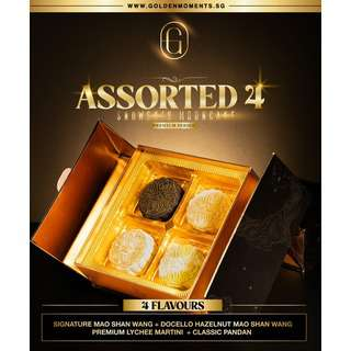 Golden Moments Assorted 4 Flavours Snowskin Mooncake