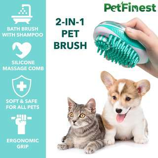 Petfinest 2 In 1 Pet Brush with Shampoo Dispenser (Green)