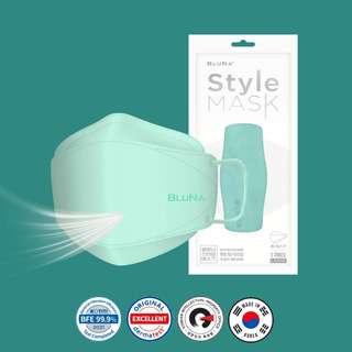 Bluna BFE 99.9% 3D Mint Colour Style Adult Face Masks
