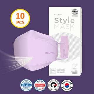 Bluna BFE 99.9% 3D Lilac Colour Style Adult Face Masks