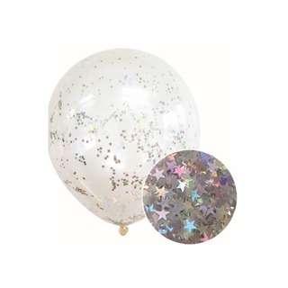 IG Design Group Glitter Confetti Balloons - Silver Star