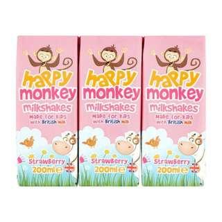Happy Monkey Strawberry Milkshakes with British Milk