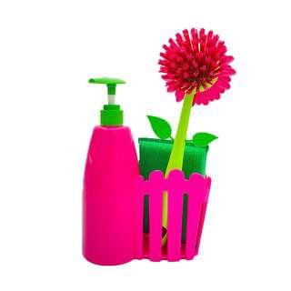 Vigar Flower Power Pink Fence Sink Side Set W/Soap Dispenser