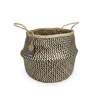 ecoHOUZE Seagrass Zigzag Plant Basket With Handles - Large