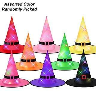 Partyforte Halloween Witch Hat Led Glowing(Assorted Colors)