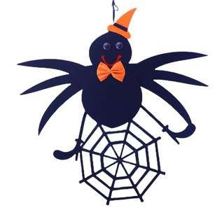 Partyforte Halloween Door/Wall Hanging Banner-Spider Drop Web