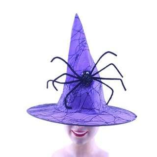 Partyforte Halloween Costume  Witch Hat Lace Spider - Purple