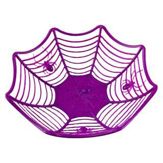 Partyforte Halloween Candy Bowl - Spiderweb Purple