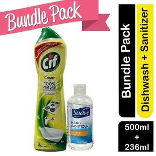 Cif Cream Lemon Surface Cleaner + Suave Hand Sanitizer Bundle
