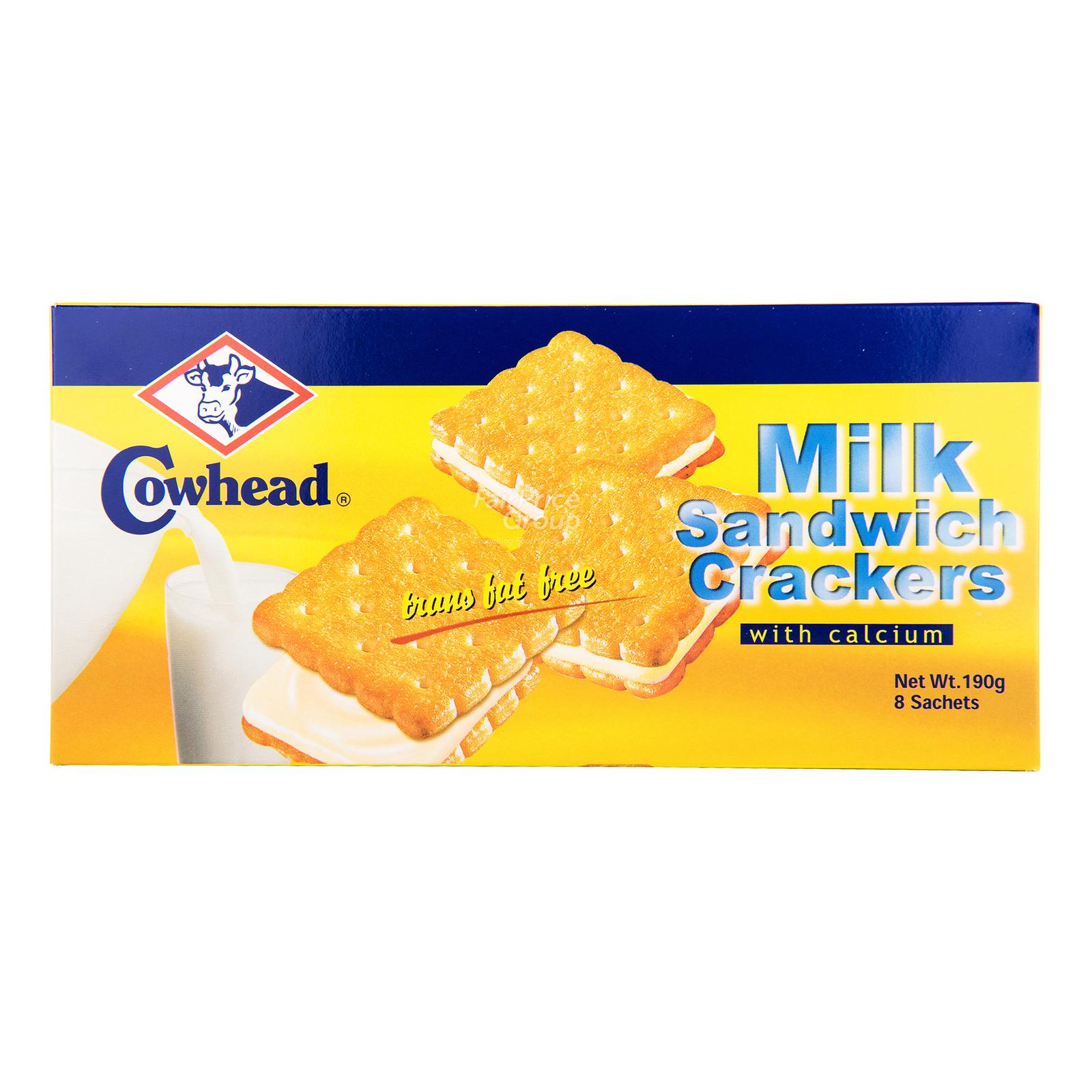 Cowhead Sandwich Crackers with Calcium - Milk