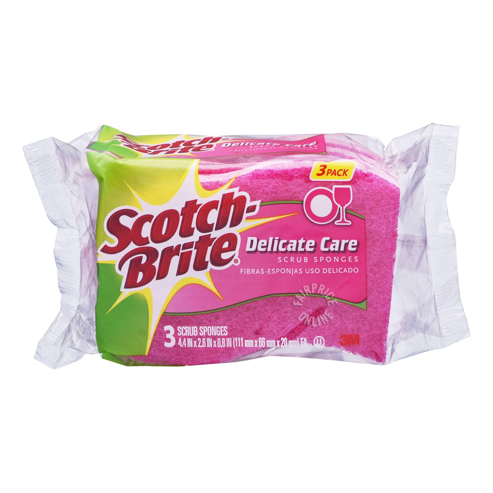 3M Scotch-Brite Scrub Sponges - Delicate Care (Pink)