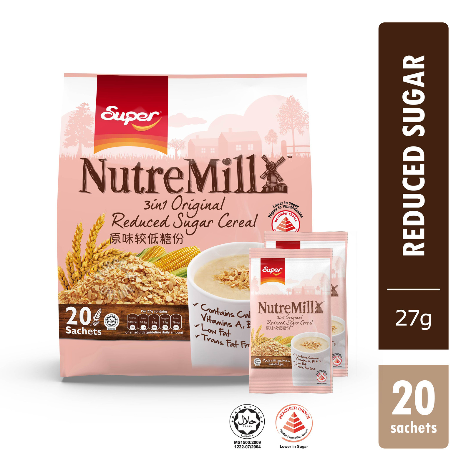 Super NutreMill 3 in 1 Instant Cereal Drink - Less Sugar