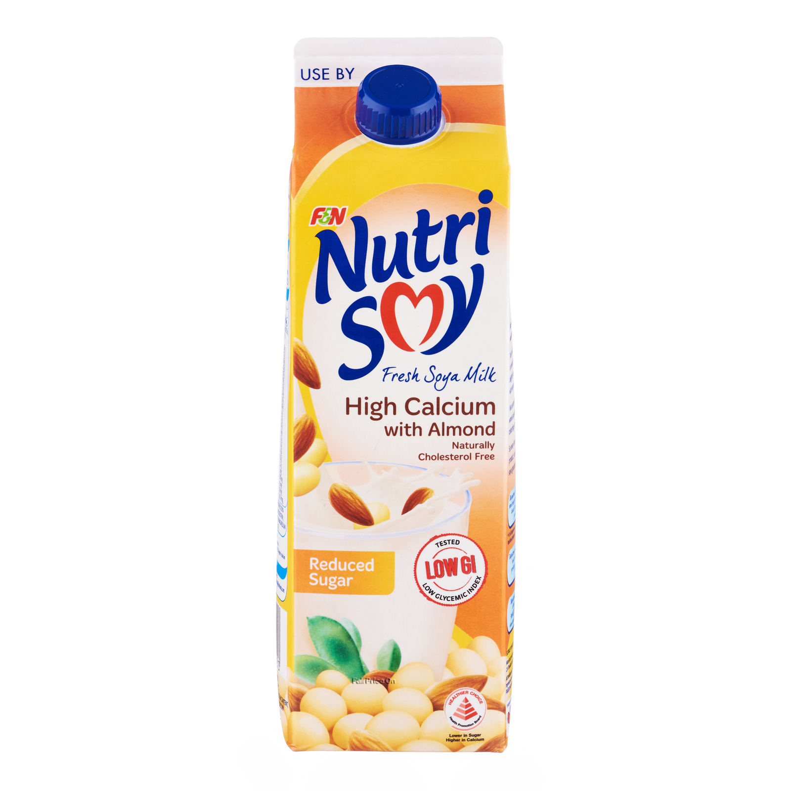 F&N NutriSoy High Calcium Fresh Soya Milk - Almond (Reduced Sugar)