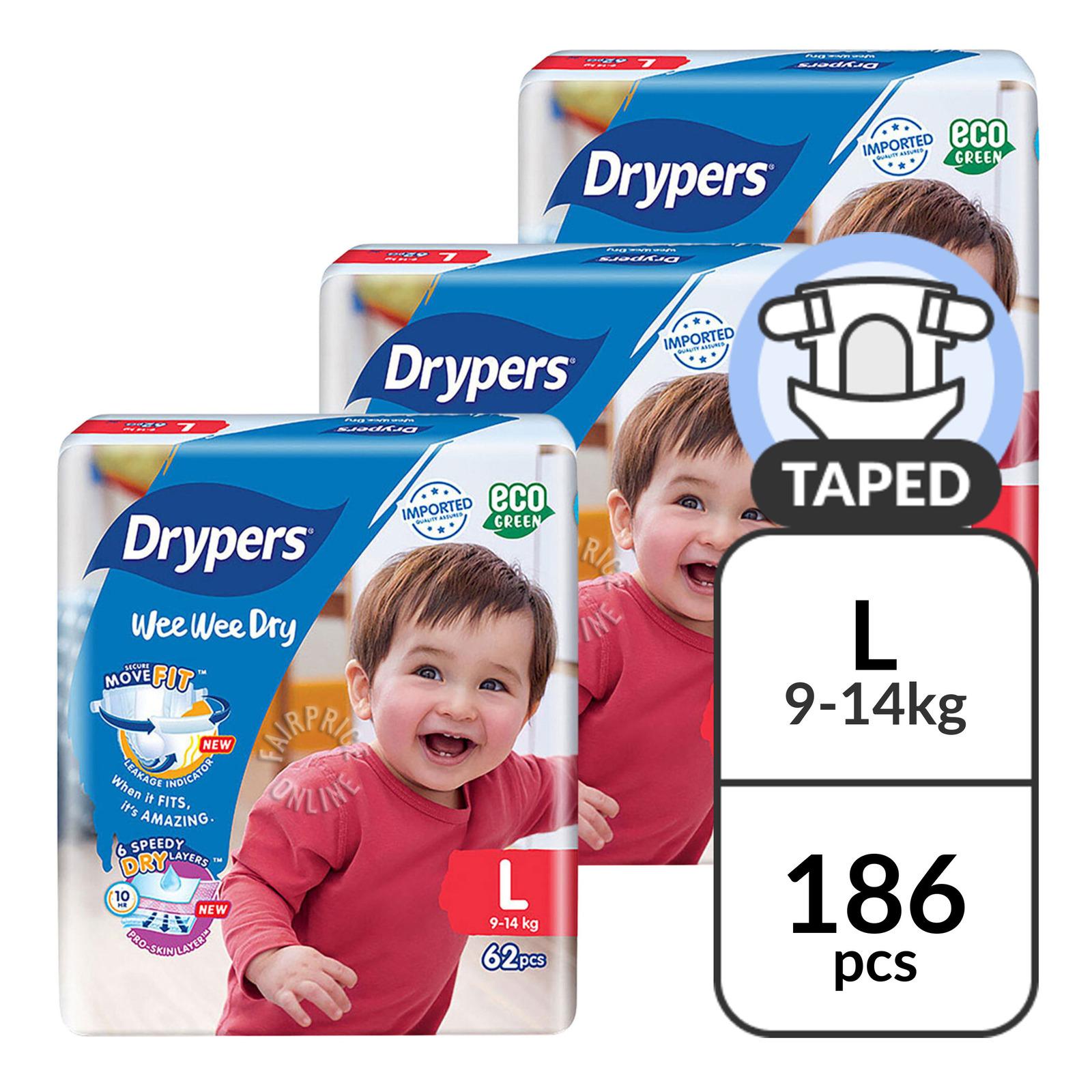 Drypers Wee Wee Dry Diapers - L (9 - 14kg)