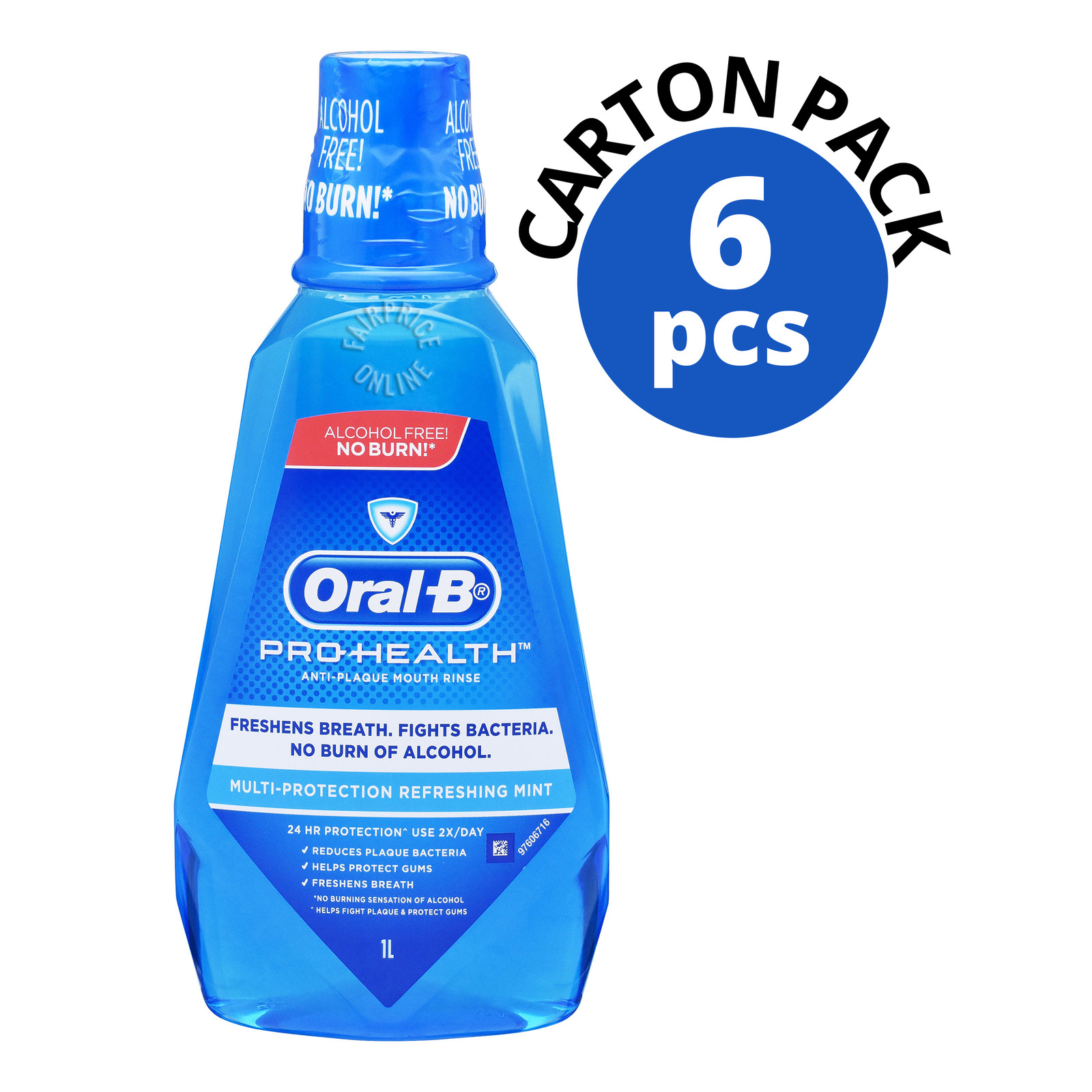 ORAL B pro health multi protection refreshing clean mint anti plaque mouth rinse 6 x 1l carton