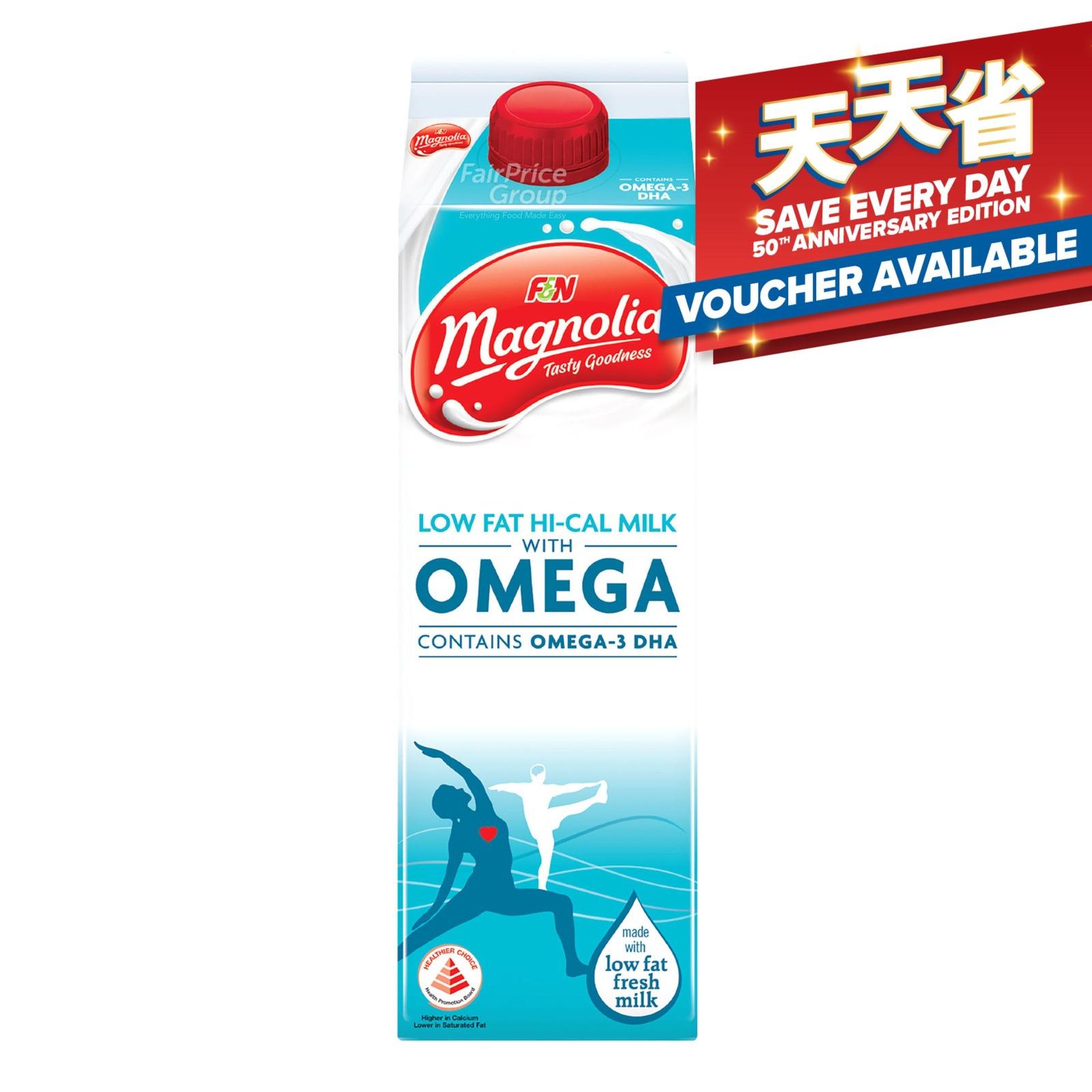 F&N Magnolia Plus Lo-Fat Hi-Cal Milk - Omega
