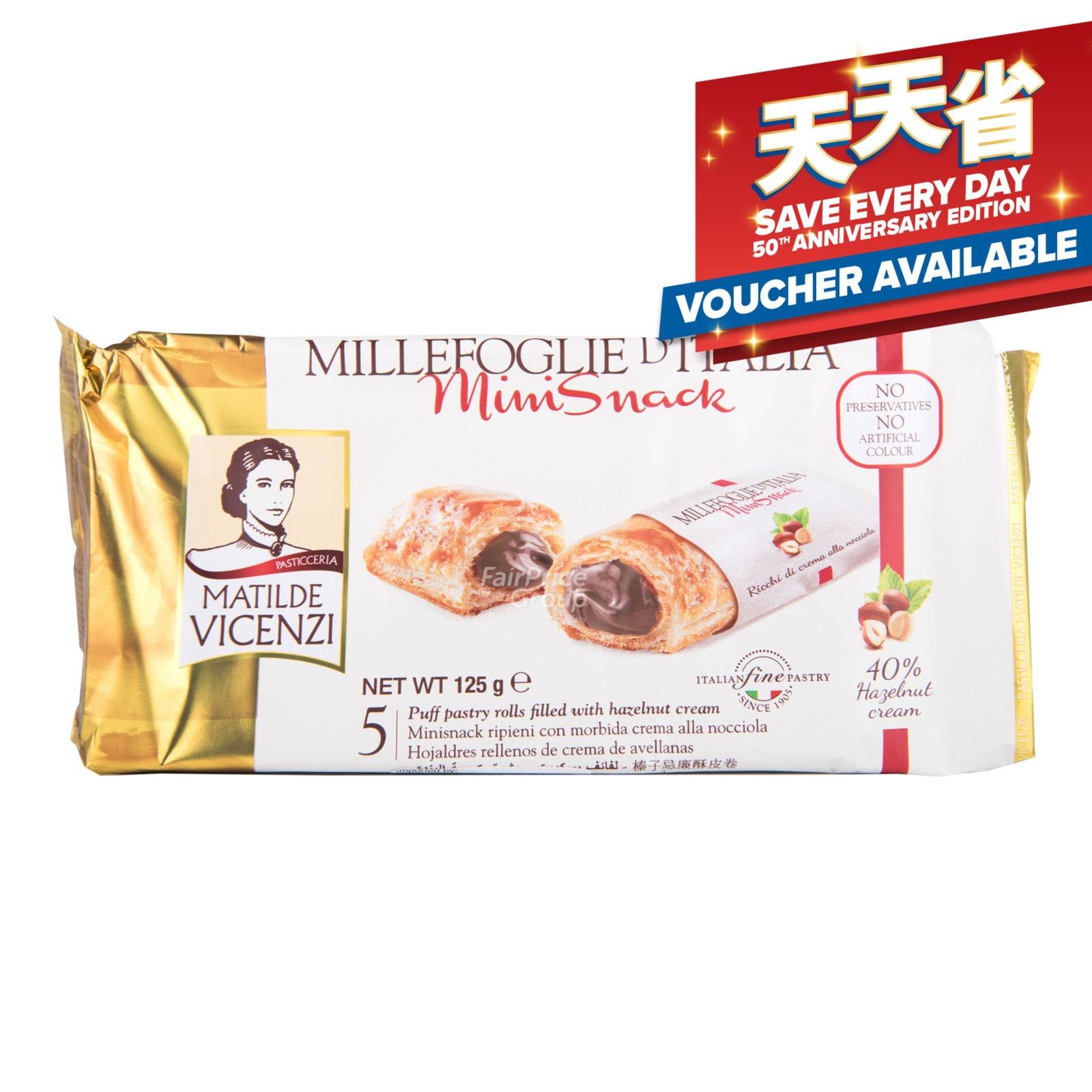Vicenzi Millefoglie Puff Pastry Roll - Minisnack (Hazelnut)