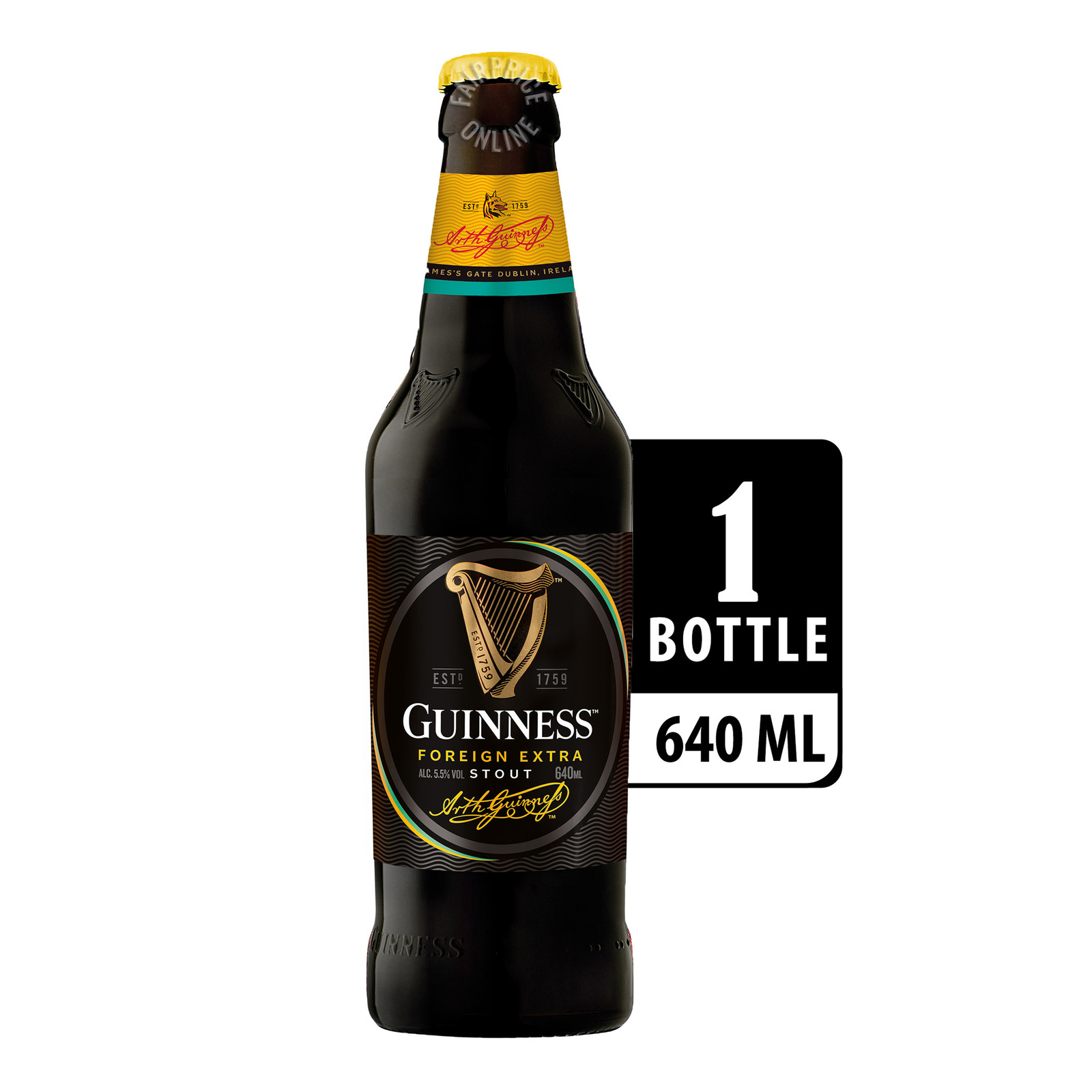 GUINNESS Foreign Extra Stout Beer Pint Bottle 640ml