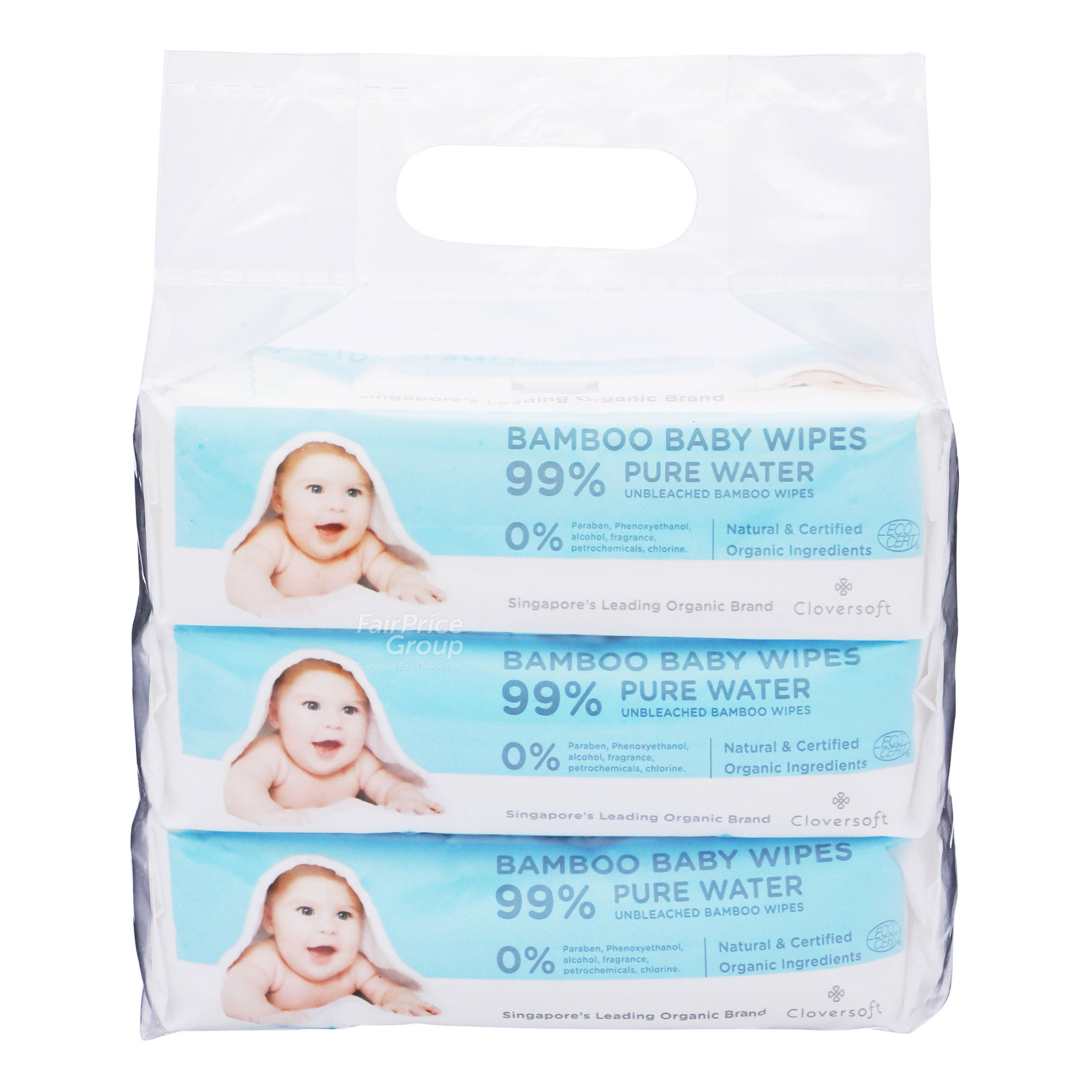 Cloversoft Bamboo Baby Wet Wipes - Unbleached