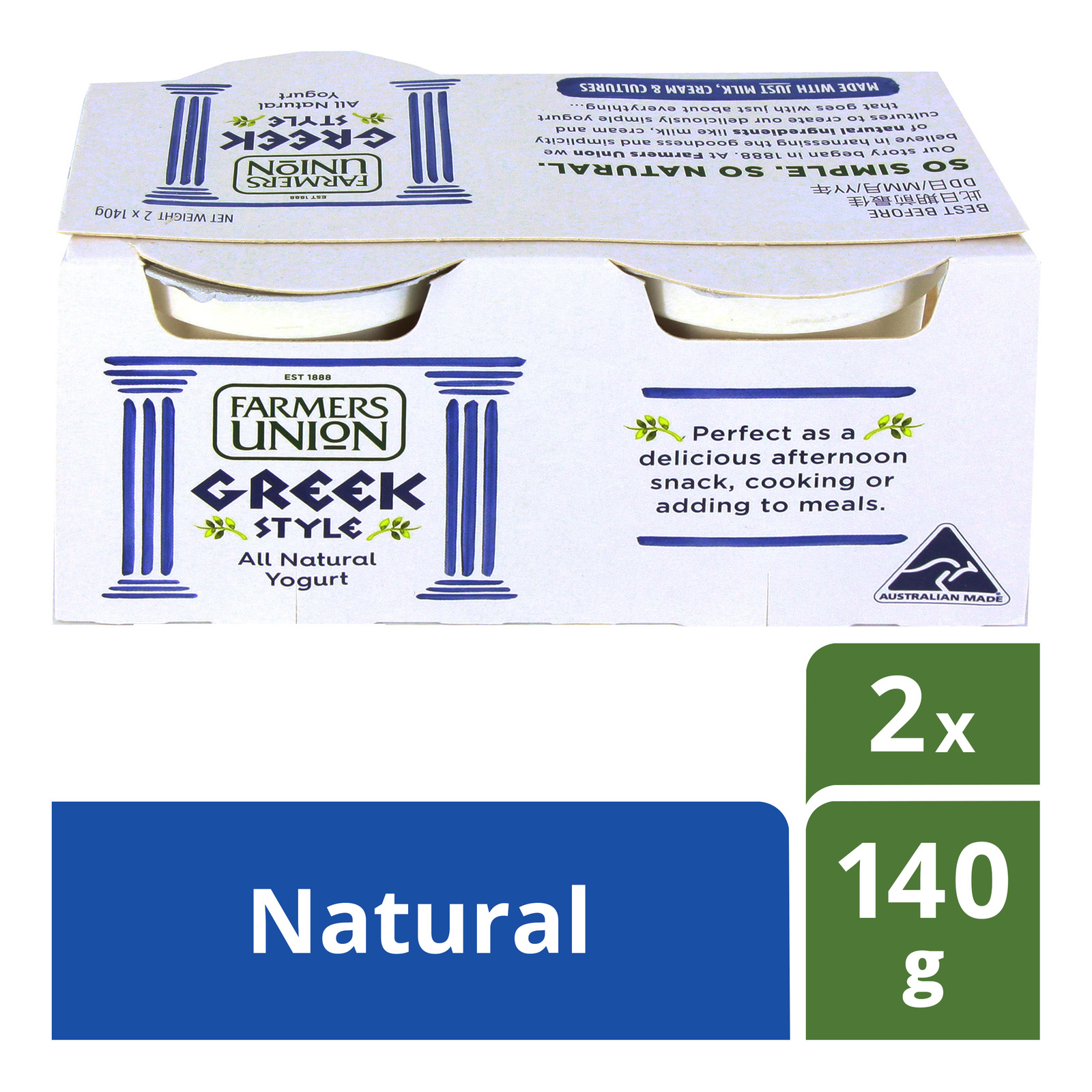 Farmers Union Greek Style Natural Yoghurt 2x140G